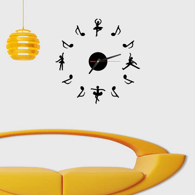 جديد حار مرآة ملصقات الحائط 3d الاكريليك أوروبا ملصق ديكور المنزل ملصق مطبخ الفراشة الحصان الموسيقى ساعة الحائط الكبيرة