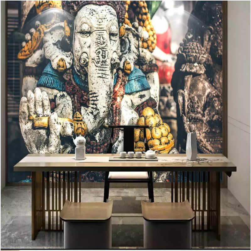 Asia Tenggara India Gajah Allah Kuil Agama Patung Dinding Latar Belakang Lukisan Dekoratif Lukisan Dinding Wallpaper untuk Ruang Tamu