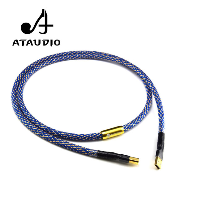 ATAUDIO Silver-plated Hifi usb Cable High Quality 6N OFC Type A-B DAC Data USB Cable