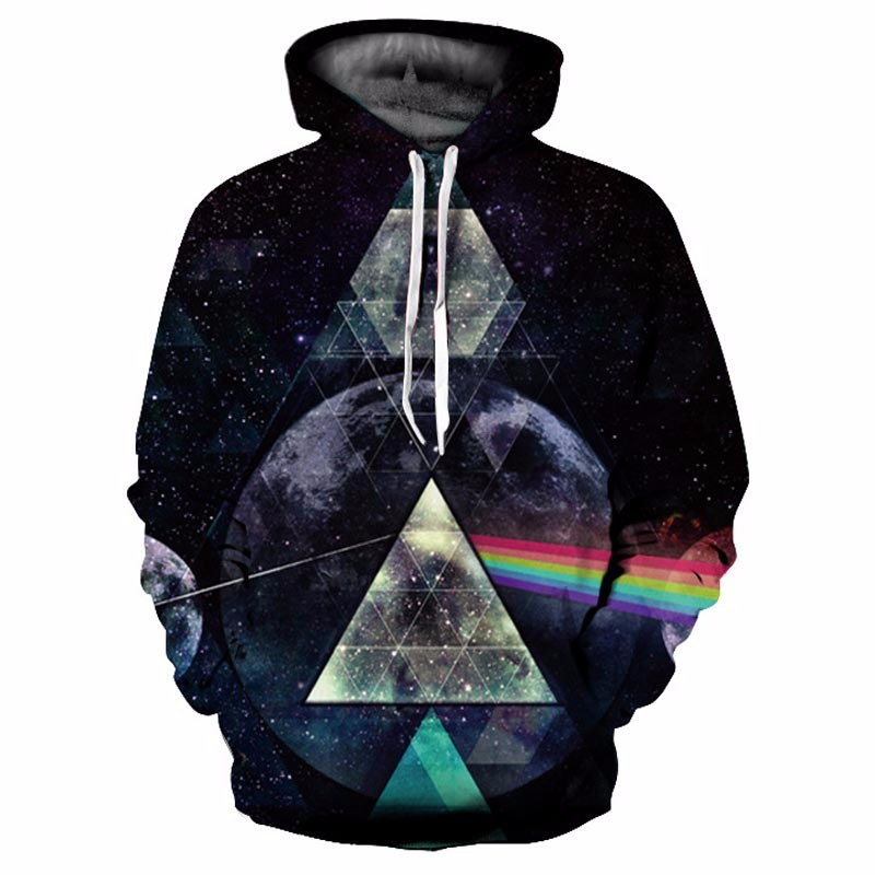 Headbook Galaxy Hoodies Women/Men Unisex Hooded Sweatshirts 3d Print Light Refraction Rainbow Fashion Hoody Streetwear YXQL098