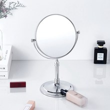 Chrome Makeup Mirror Dual Sided Round Shape Rotating Cosmetic Stand Magnifier Standing