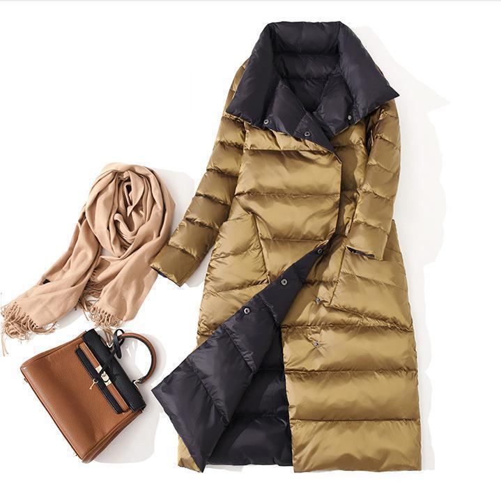 Женская двусторонняя длинная парка Fitaylor, теплая двубортная куртка на белом утином пуху с высоким воротником, зимняя верхняя одежда - Цвет: Золотой