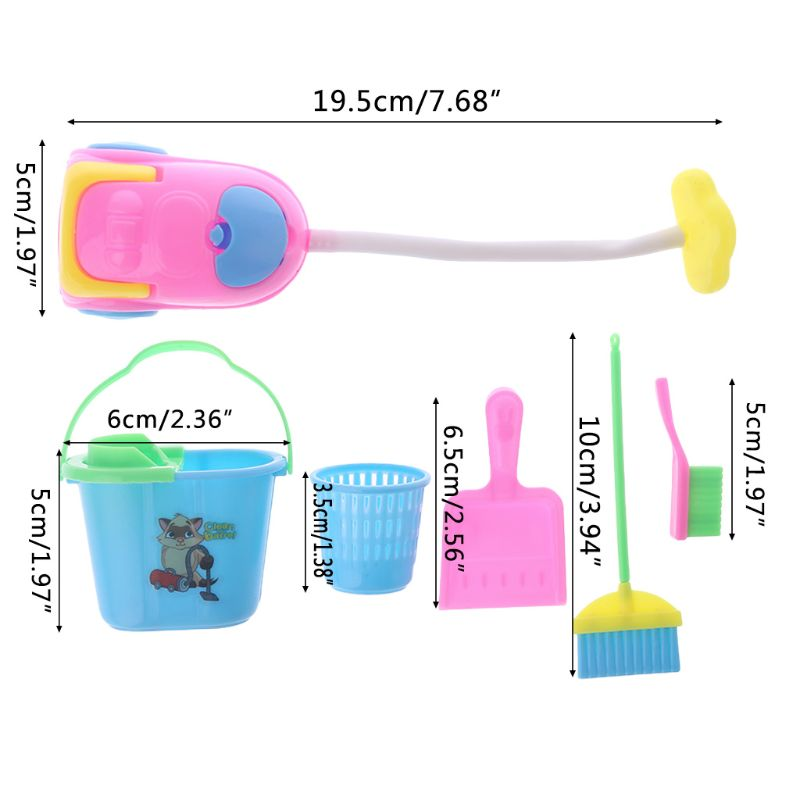 1 Set Doll Cleaning Tool Miniature Toys Furniture Dollhouse House Game Kids Children Household Dust Cleaner Bucket Plastic Broom