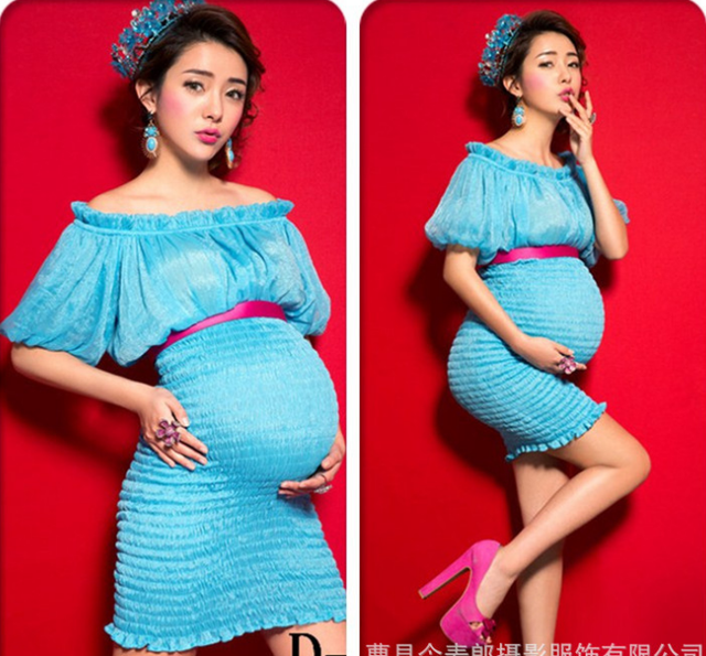 New Blue pleated dress maternity dress Elastic pregnantcy dress pregnancy  photography props fancy night dress shoulderless
