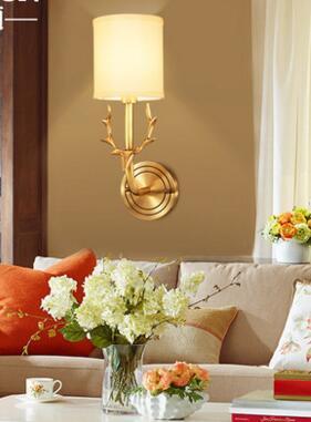 Nieuwe full koper Amerikaanse herten hoofd wandlamp woonkamer ...