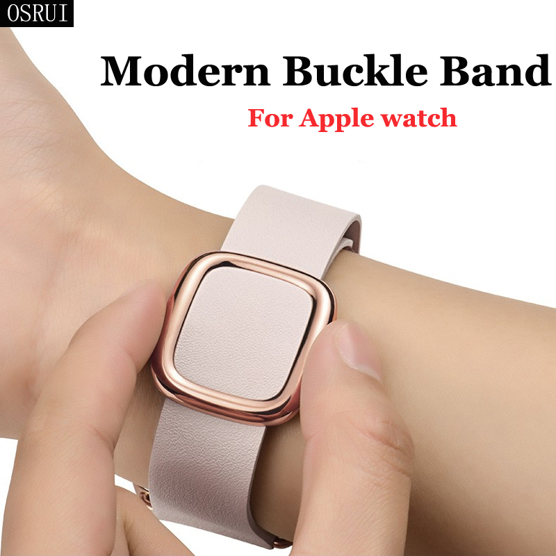 Strap for Apple Watch band 42mm 38mm 44mm 40mm correa iwatch band 5 4 3 modern buckle leather bracelet apple watch 4 accessories