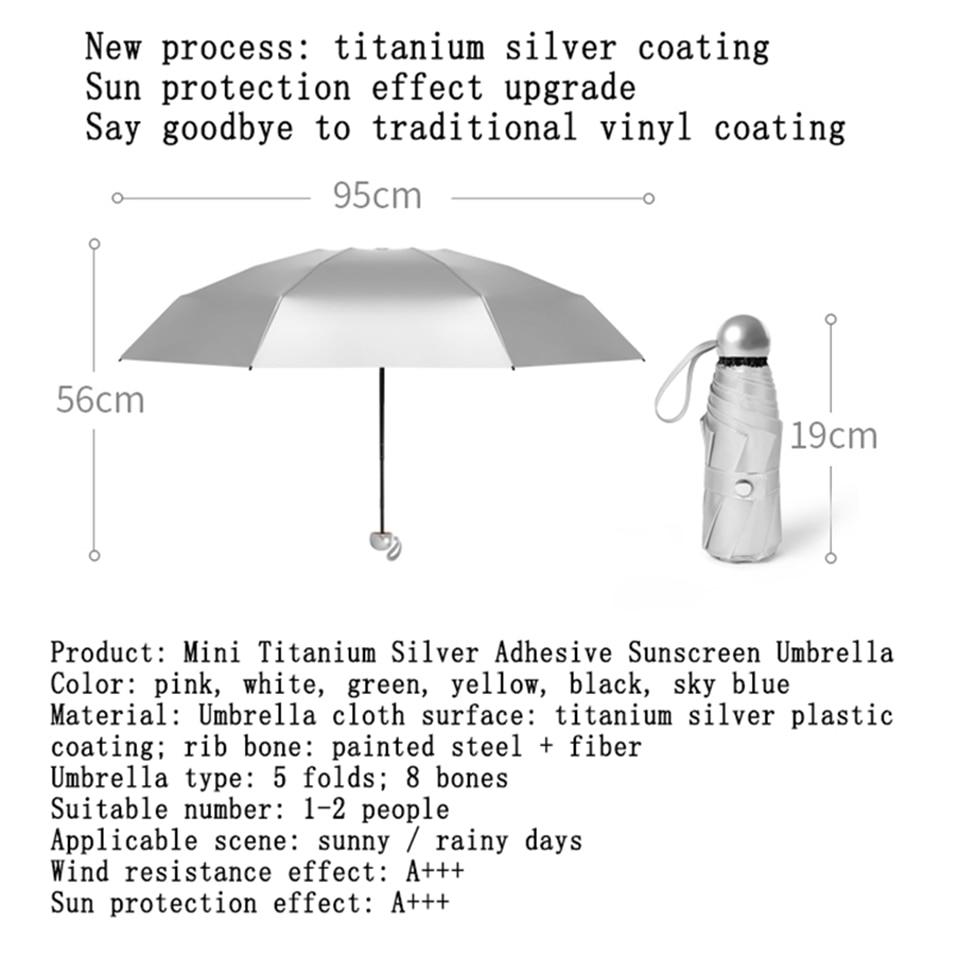 8 Bones Pocket Mini Umbrella Anti UV Paraguas Sun Umbrella Rain Windproof Light Folding Portable Umbrellas for Women Children (2)
