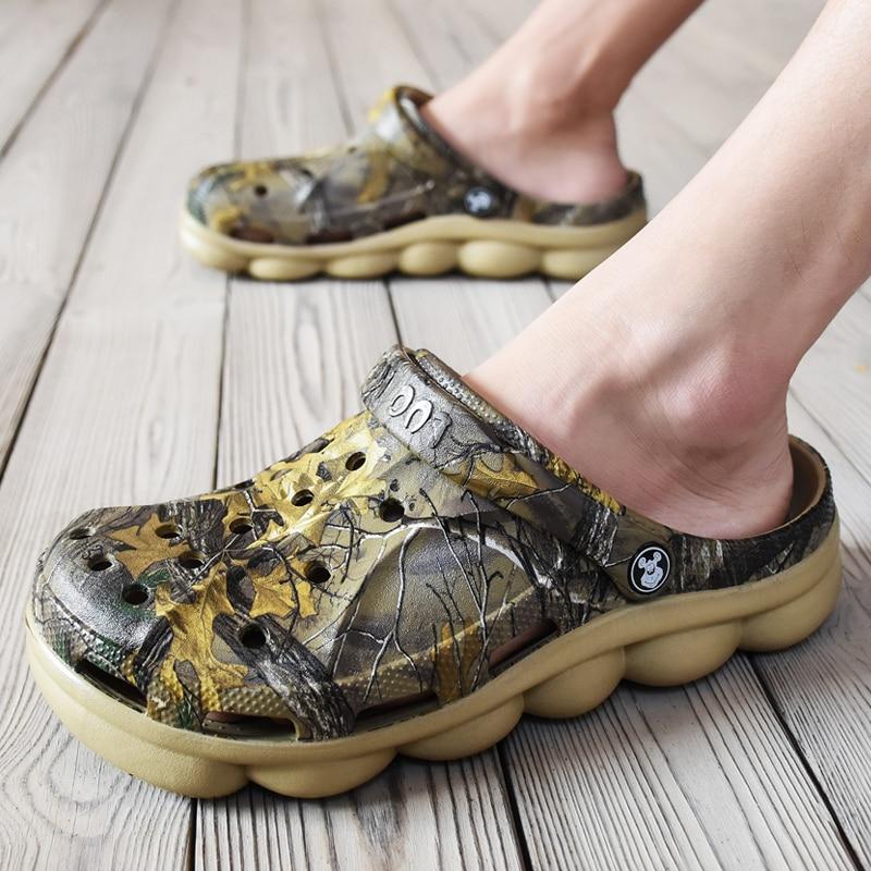Allwesome Croc Shoes Men Summer Jelly Sandals Platform Massage Camouflage Flip Flops Garden Clogs Buty Crocsnessinglys 2019