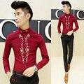 2016 Camisa Masculina Luxo Casual Camisas Dos Homens Camisas de Vestido de Luxo Barroco Vermelho Preto Camisa de Manga Longa de Impressão Da Moda Slim Fit