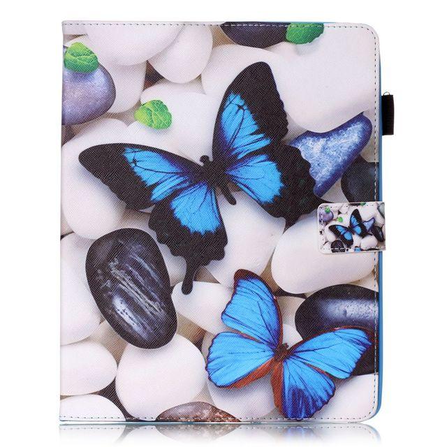 Para la cubierta de apple ipad 2 ipad 3 ipad 4 caso historieta de la mariposa de la pu caja de la tableta del soporte del tirón de cuero cubierta linda kids para ipad 2 3 4