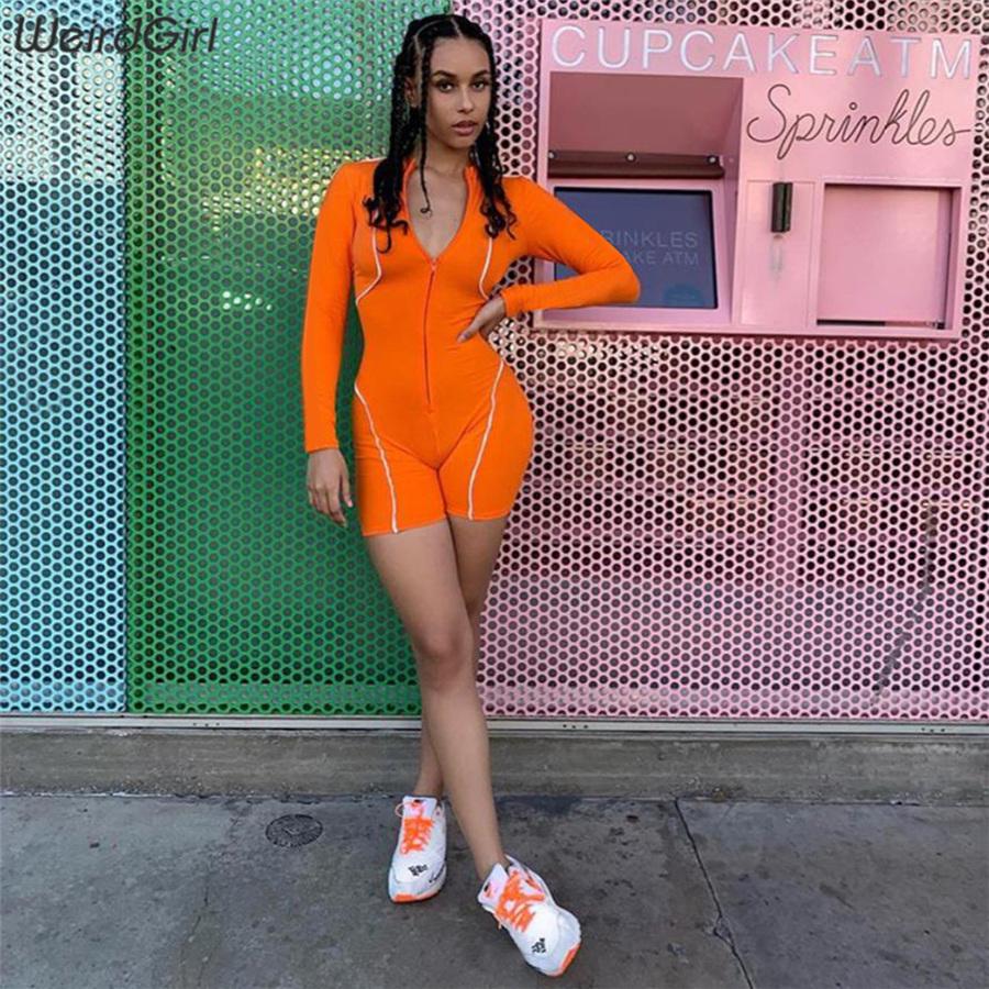 women playsuits fitness reflective striped turtleneck zipper sportswear slim tennis femme elastic rompers new summer