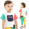 fashion baby's sets cute baby short sleeve t-shirt and short pants for summer candy colors cartoon pattern baby clothing sets