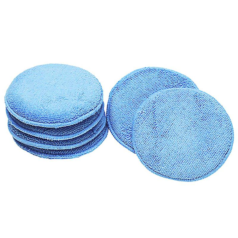 LumiParty 12.5cm Ultra-soft Round Microfiber Wax Applicator Pads wax applicator pad for car cleaning for Car Polish, Light Blue