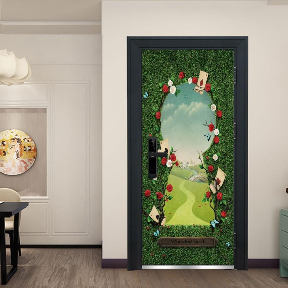 Image 5 - Beautiful Gardern Grass Mountain Green Door Murals Wall Mural Door Decals  Wall Door Stickers Wallpaper Mural DIY Home-in Wall Stickers from Home & Garden