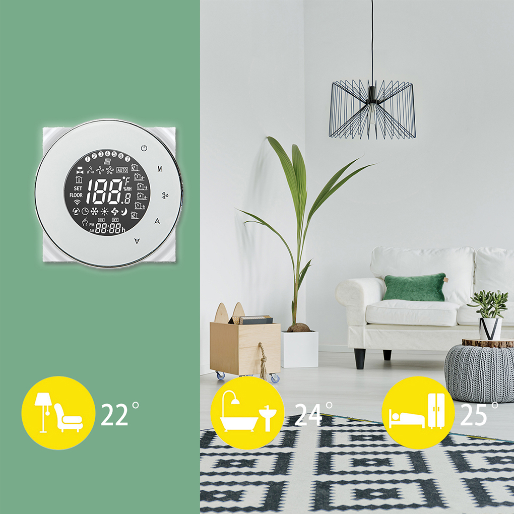 WiFi Integral Central Air Conditioner Temperature Controller 4 Pipe Programmable Thermostat LCD Backlight Touchscreen