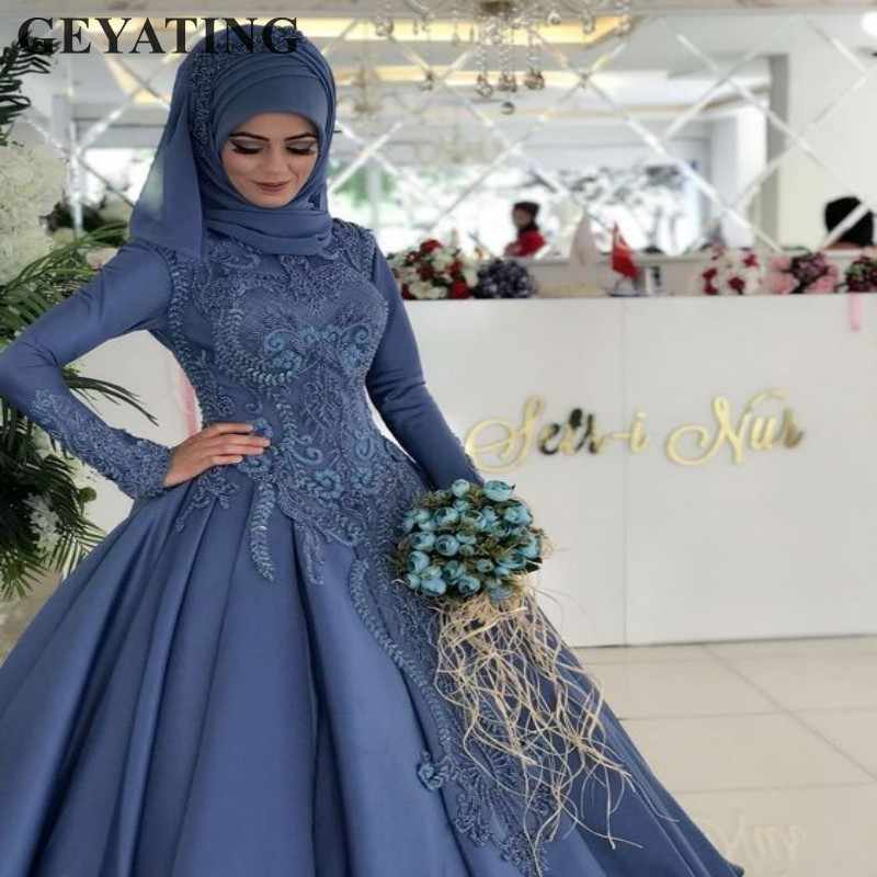 Vintage Blue Lace Muslim Plus Size Wedding Dress with Sleeves Ball Gown  Princess Bridal Gowns Arabic Wedding Dresses Dubai 2019