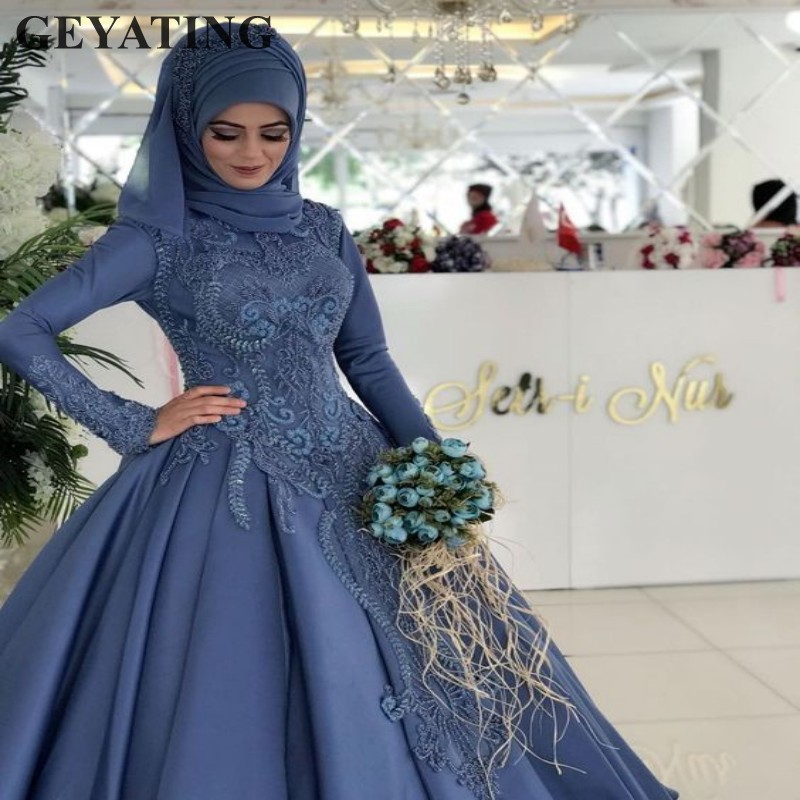 Vintage Blue Lace Muslim Plus Size Wedding Dress with Sleeves Ball Gown Princess Bridal Gowns Arabic Wedding Dresses Dubai 2019 gown