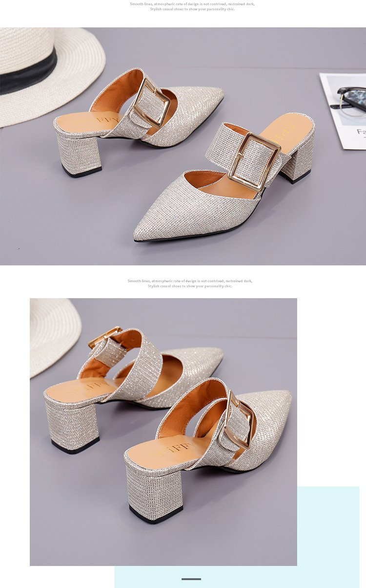 2019spring New Thick with Muller Shoes Women's High Heels Pointed Belt Buckle Back Air Slippers Elegant Temperament Baotou 16