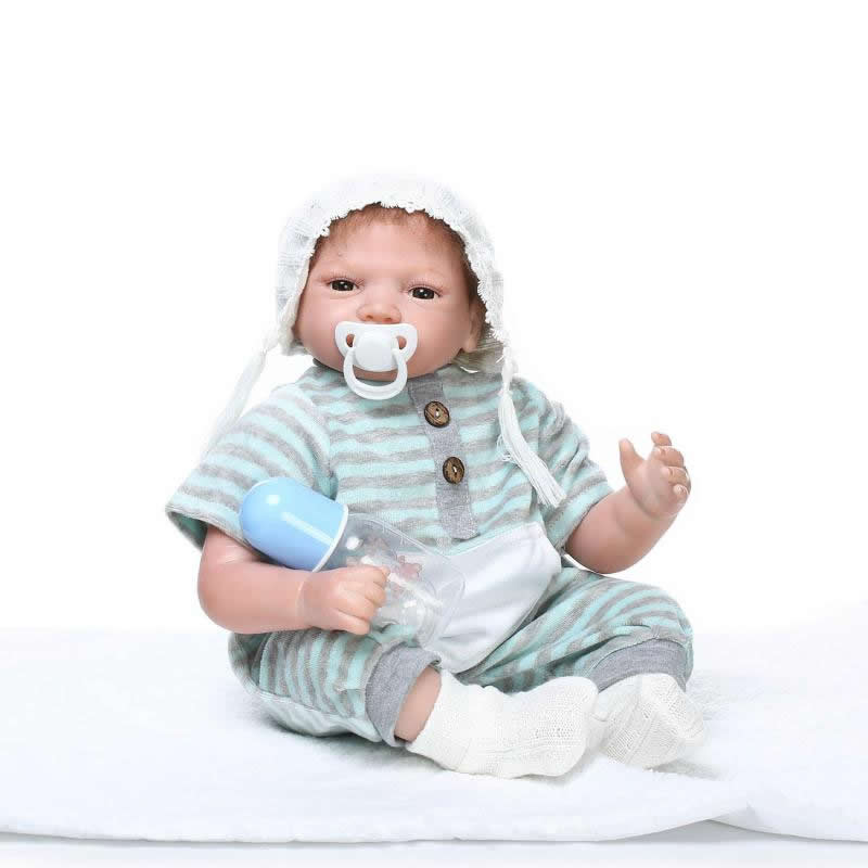 Alive Lifelike Doll Baby Reborn Silicone Babies Dolls 22 Inch Newborn Boy Kids Cloth Body Toy Boneca Kids Birthday XMAS Gift can sit and lie 22 inch reborn baby doll realistic lifelike silicone newborn babies with pink dress kids birthday christmas gift