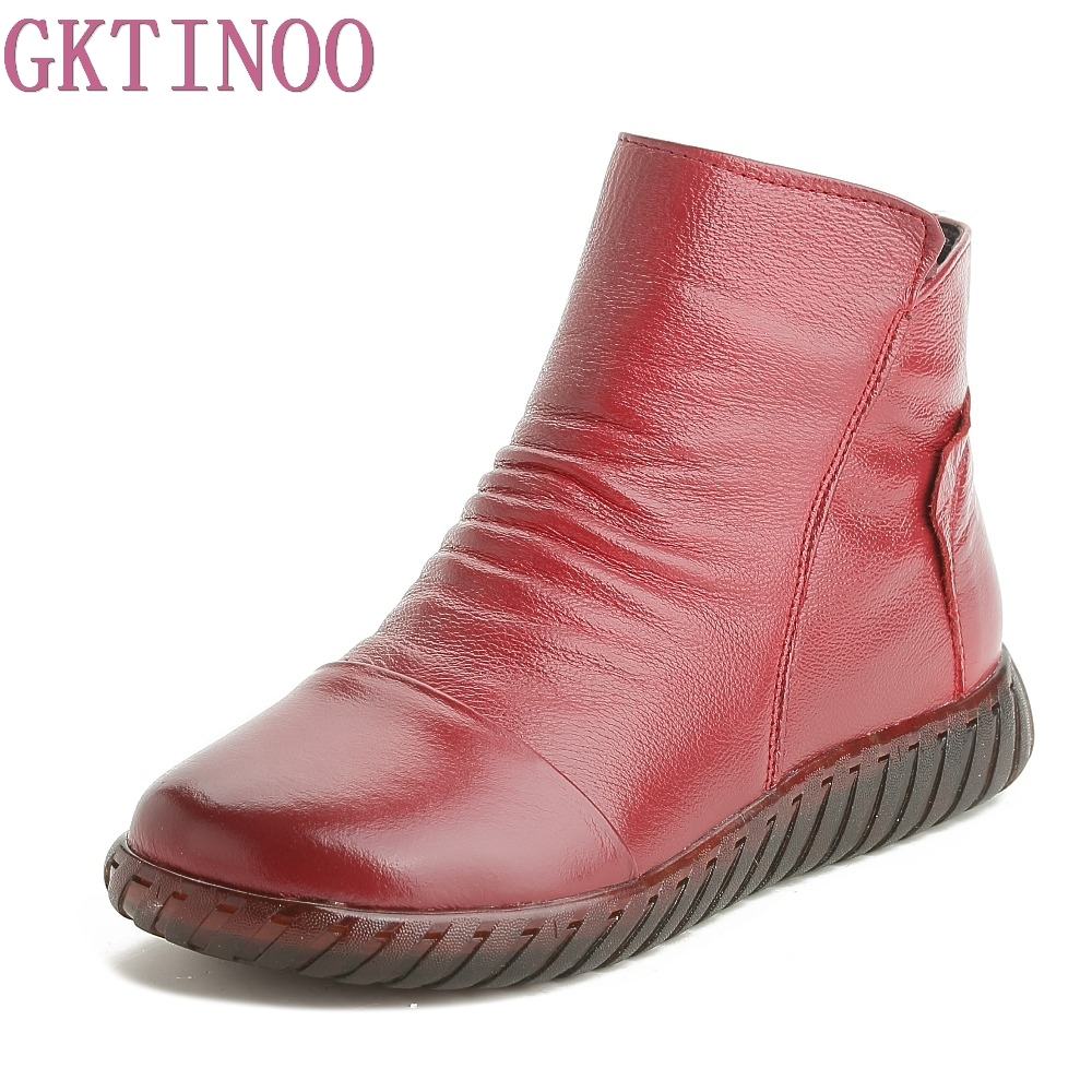 GKTINOO New Women Winter Boots Genuine Leather Shoes High quality Short Plush Inside Handmade Zip Design Flat with shoe