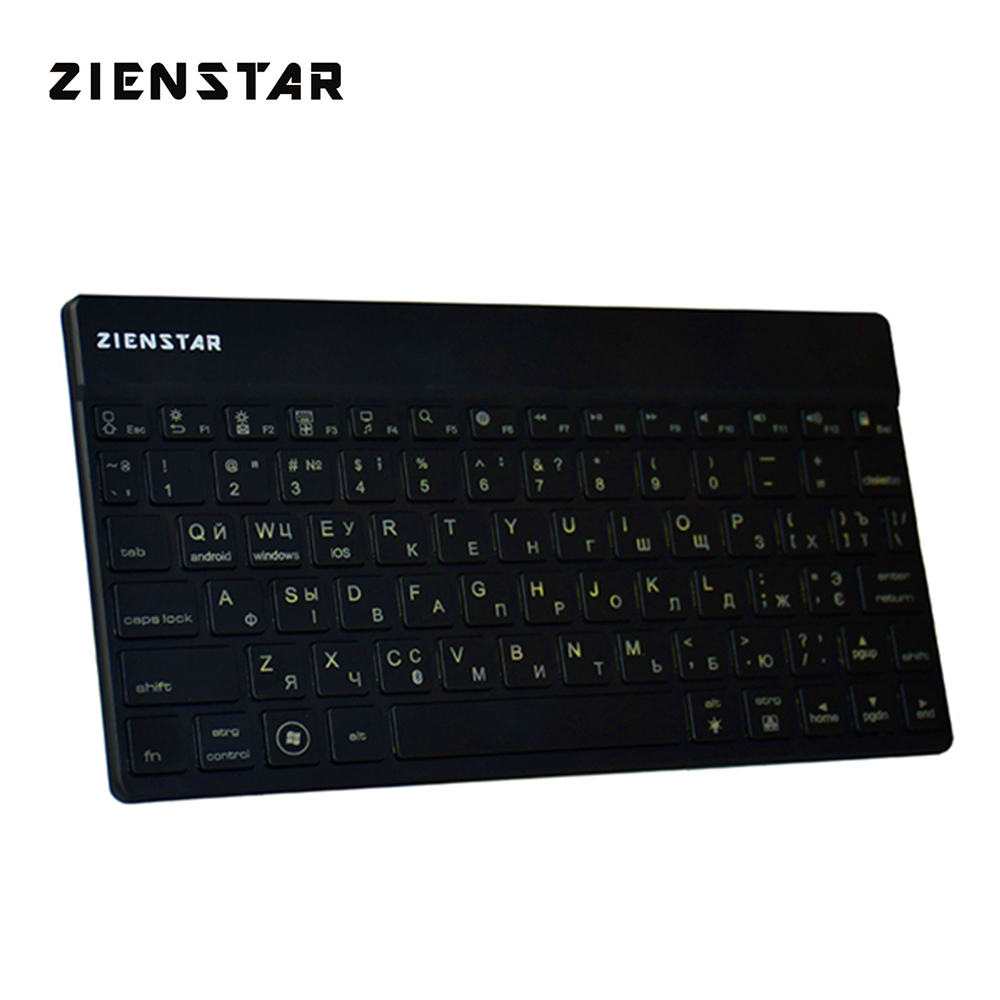 Zienstar Russian/Ukraine Wireless Keyboard Bluetooth 3.0 with 7 Colors Backlit for IPAD ,MACBOOK,LAPTOP, Computer PC and Tablet lofree dot bluetooth mechanical keyboard wireless backlit round button for ipad iphone macbook pc computer android tablet