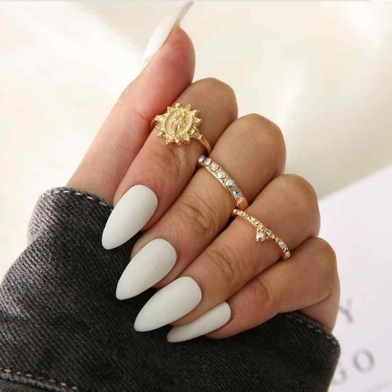 3-12 unids/set conjunto de anillos de moda Vintage de mujer de piedra de plata de oro Midi anillos de dedo Boho joyería de las mujeres anillo de nudillo conjunto regalo de la joyería