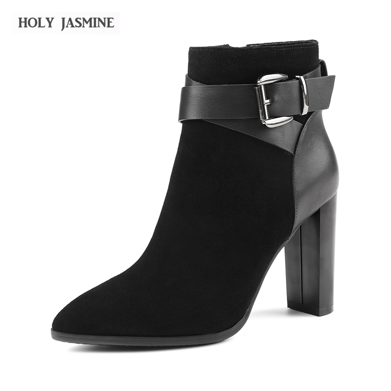 Hot sale New Women Boots Square heel Boots Ankle Boots Pointed Toe Autumn Winter Ladies Boots Female Zip Buckle Blue Red Shoes hot women winter snow ladies low heel ankle belt buckle martin boots shoes kh 39 17mar09