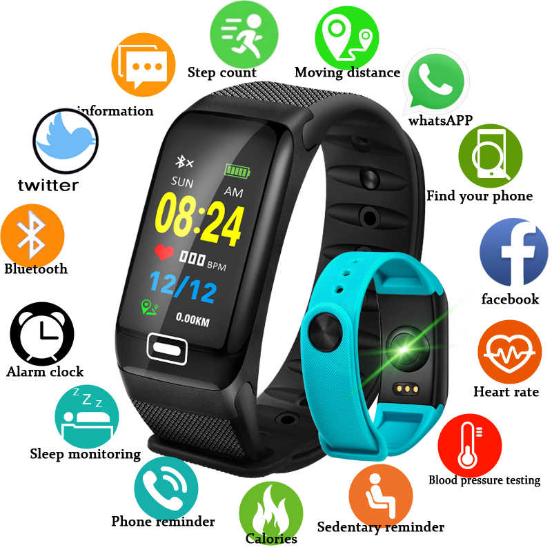 LIGE Smart Sport Bracelet New Waterproof Watch Blood Pressure Heart Rate Detection Pedometer for ios Android Fitness Watch +Box
