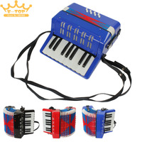 Mini Educational Musical Instrument 17 Key 8 Bass Toy Accordion for Kids Children