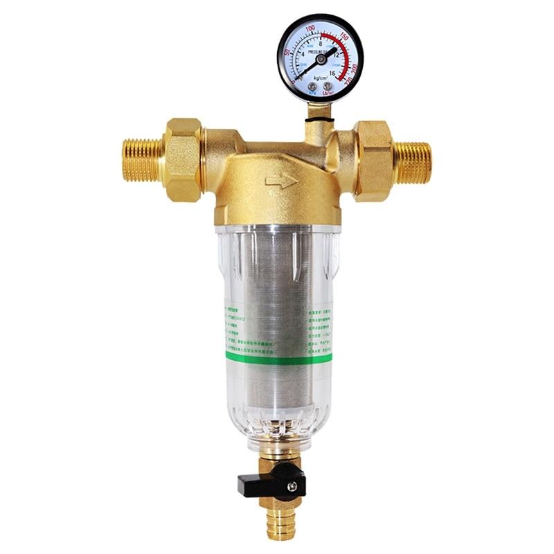 Water Pre Filter System 2/5 Inch&1 Inch Brass Mesh Prefilter Purifier W/ Reducer Adapter&Gauge