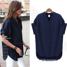 Loose Batwing Sleeve Short Sleeve Women Spring Shirt Casual Rock Style Solid Color Women Shirt Blouse Plus Size