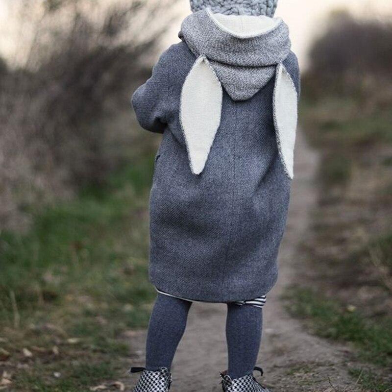 Осень-зима для маленьких мальчиков Обувь для девочек jeckets одежда Кролик Hat пальто Толстовки дети теплые милые Длинная Верхняя одежда младен...