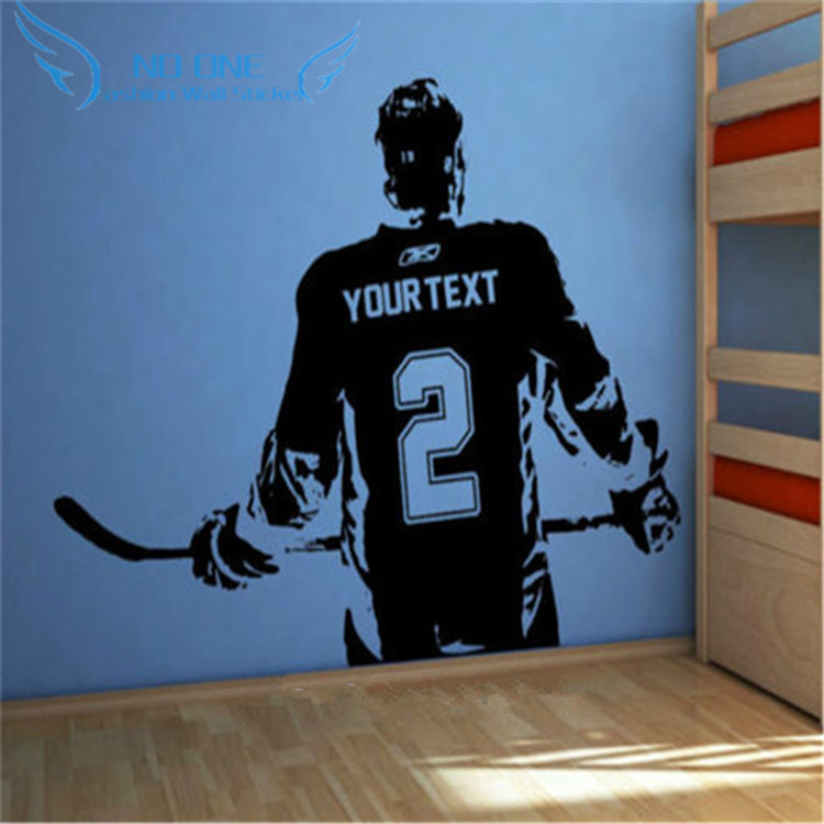 Hockey Wall Decal Large Decal Custom Name Decal Boys: Hockey Player Wall Art Decal Sticker Choose Name Number
