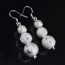 promotion sale 925 sterling silver beads ball drop earrings for women fashion jewelry accessories gifts