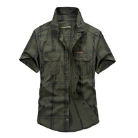 4 Models AFS JEEP Brand Summer Shirt Dress Men Short Sleeve Shirt Pure Plaid Style Chemise
