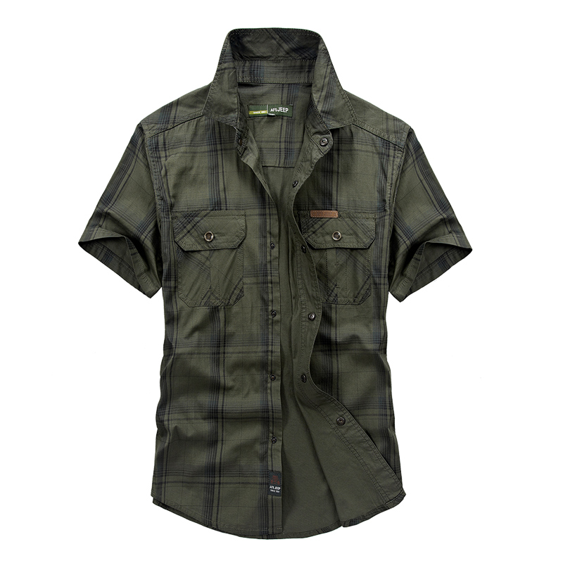 AFS JEEP Brand Summer Shirt Dress Men Short Sleeve Shirt Pure & Plaid Style Chemise Homme Mens Shirts Big Size M -5XL
