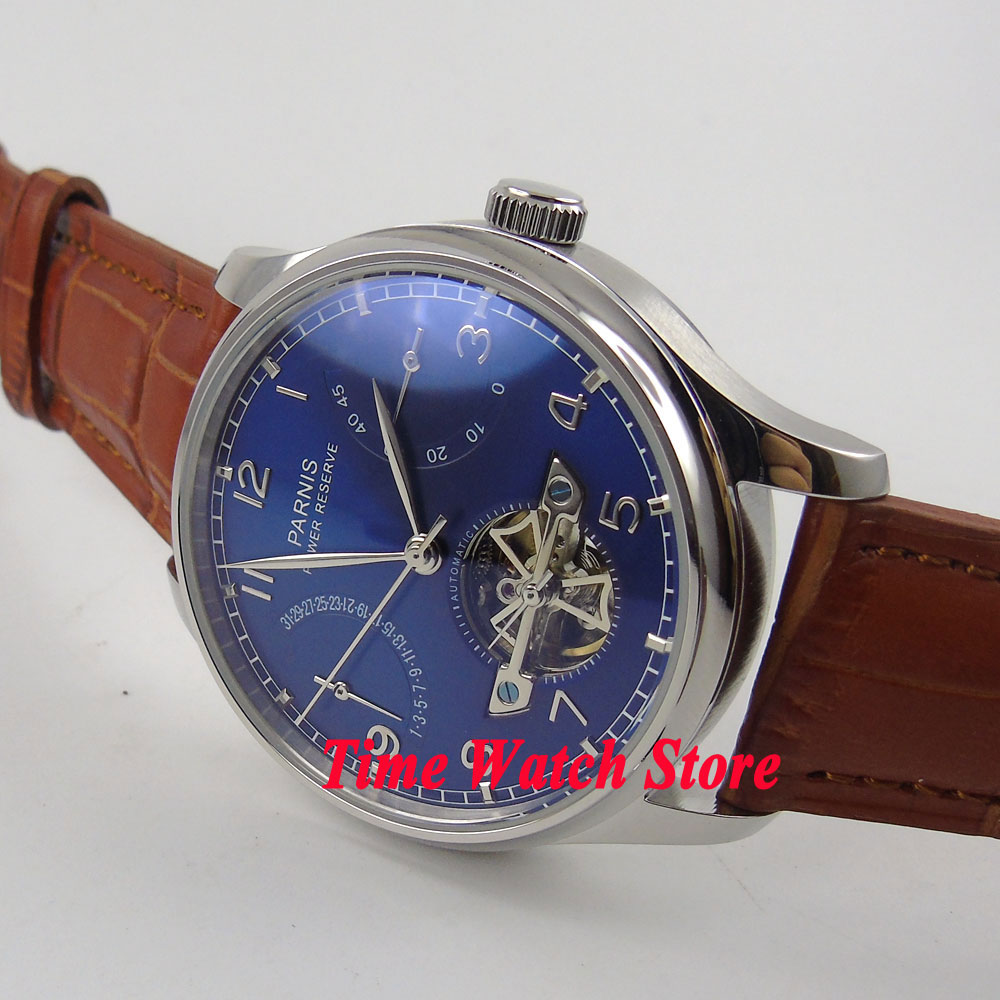 все цены на Parnis watch 43mm Blue dial date power reserve brown strap ST2505 Automatic Men's watch 547 relogio masculino онлайн