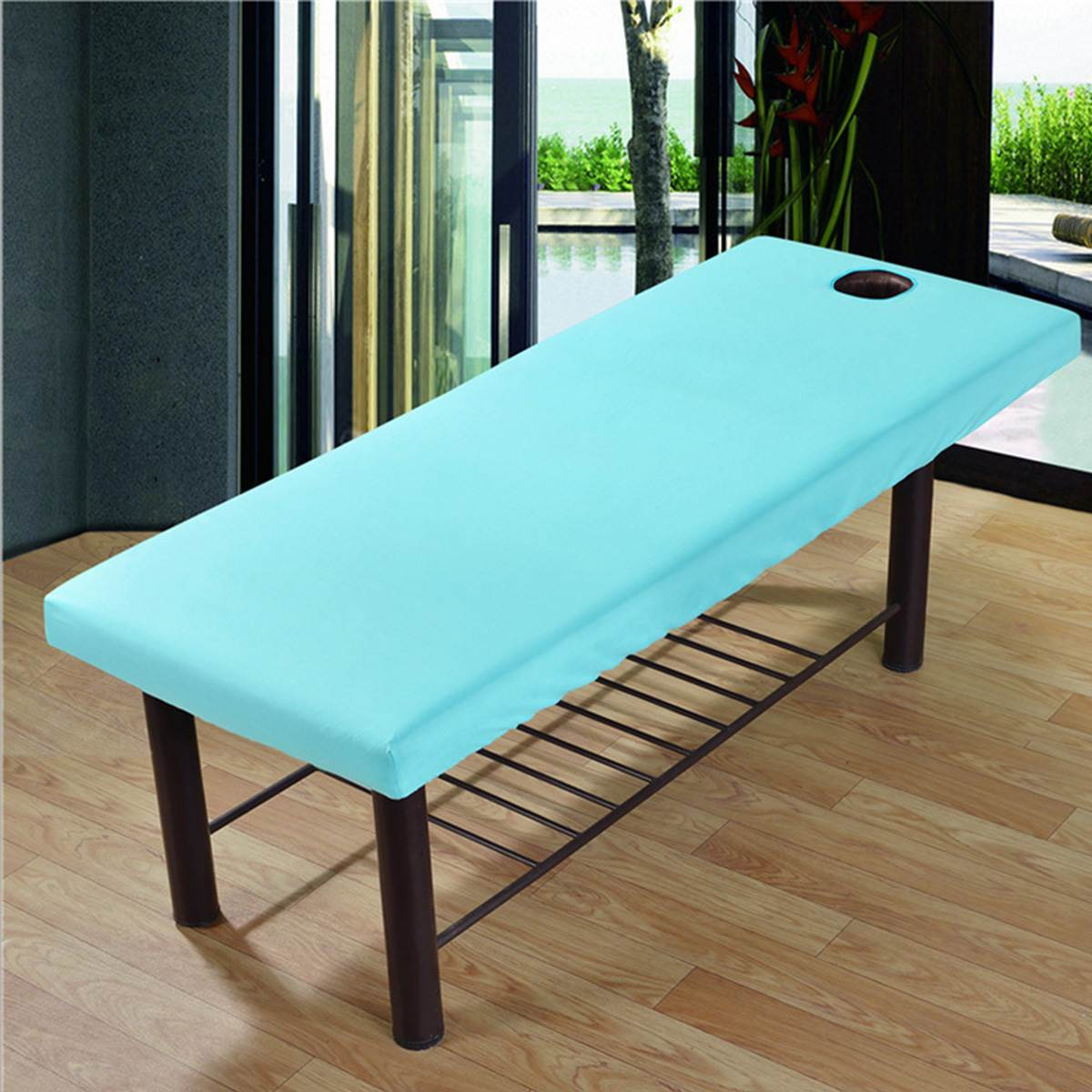 Soft Polyester Massage Bed Cover Beauty Salon Massage Sheet Body SPA Treatment Relaxation Bedsheet With Face Breath Hole 12