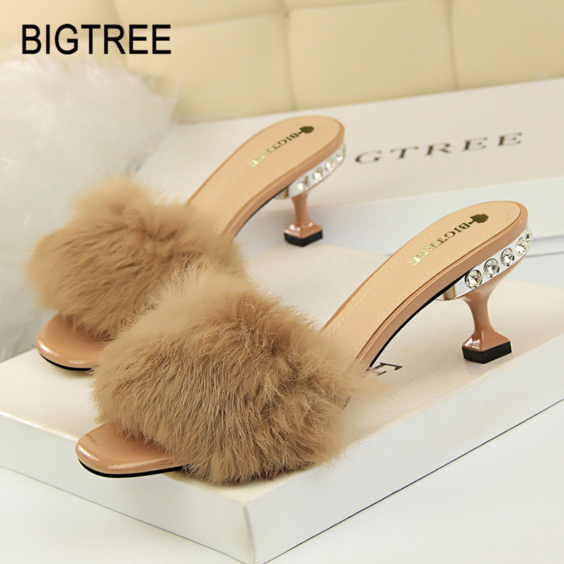BIGTREE Shoes Middle-Heels Sandals Women Crystal Fur Pu Sexy