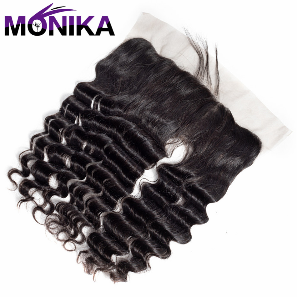Monika 13*4 Lace Frontal Peruvian Loose Deep Wave 100% Human Hair Closure 13x 4 Lace Front Non Remy ...