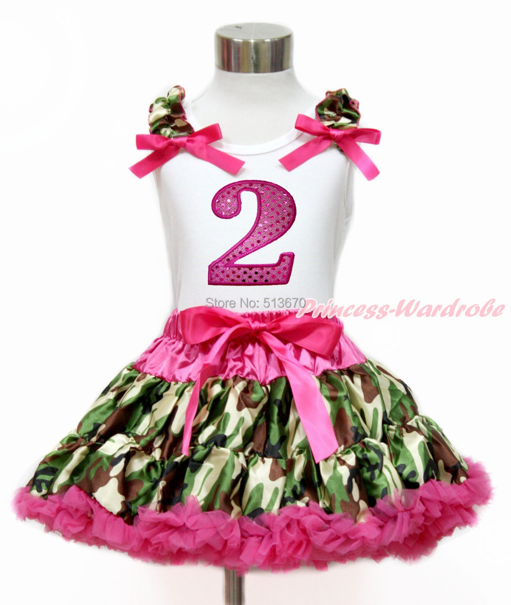 Hot Pink Sparkle 2ND White Top Camouflage Pettiskirt Set 1-8Year MG1213
