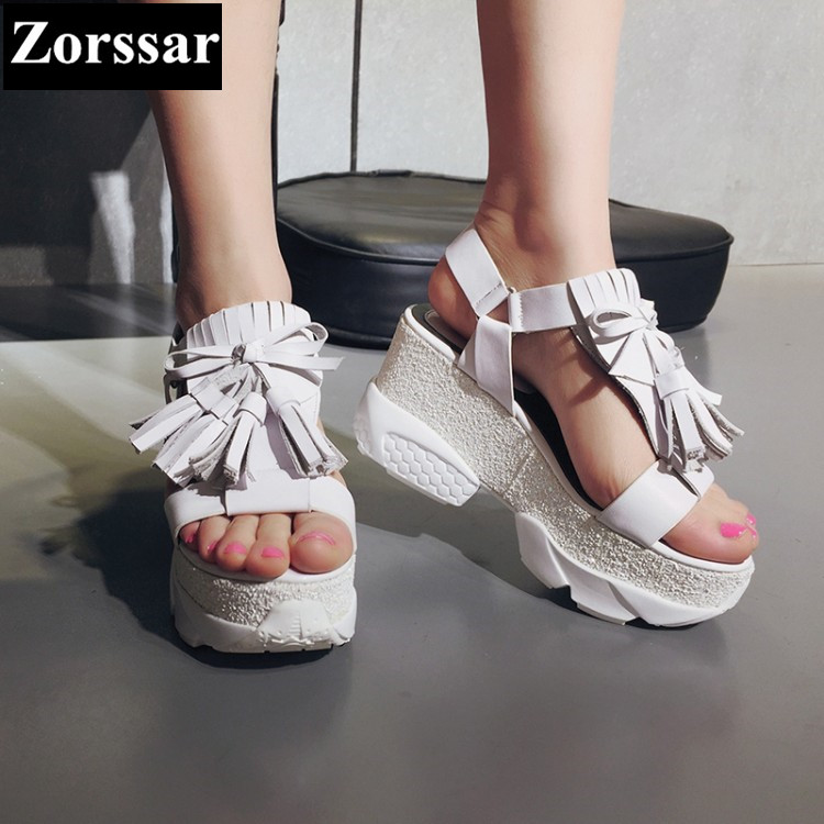 Summer Shoes Woman Casual Fashion tassel platform sandals women peep toe High heels 2017 NEW Fashion Leather womens pumps shoes phyanic 2017 gladiator sandals gold silver shoes woman summer platform wedges glitters creepers casual women shoes phy3323