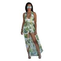 QA389 2017 Sexy шифон летнее платье женщины печати спинки Глубокий V Холтер Пляж Макси Длинные платья Сарафан