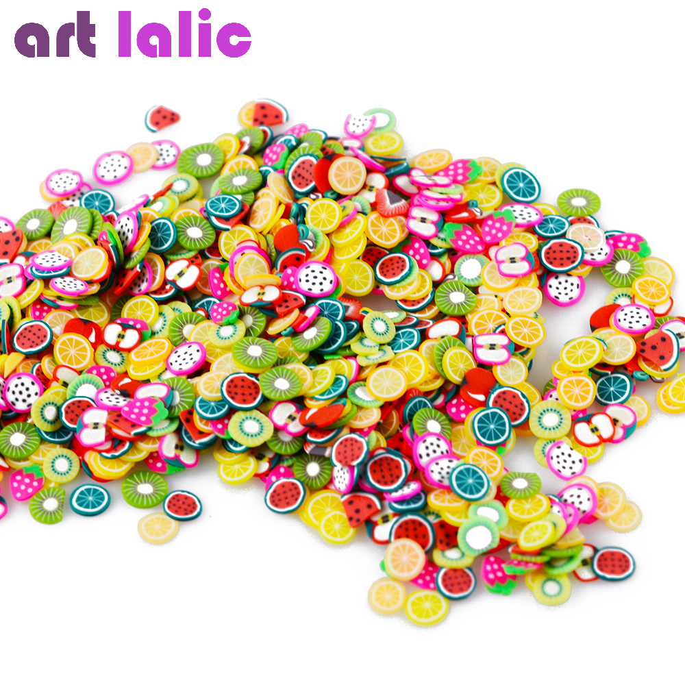 цены Artlalic Wholesale 10000 Pcs Nail Art Tiny Fimo Clay Slice Mix Polymer Clay ALL FRUIT Fruits Tips Decoration DIY