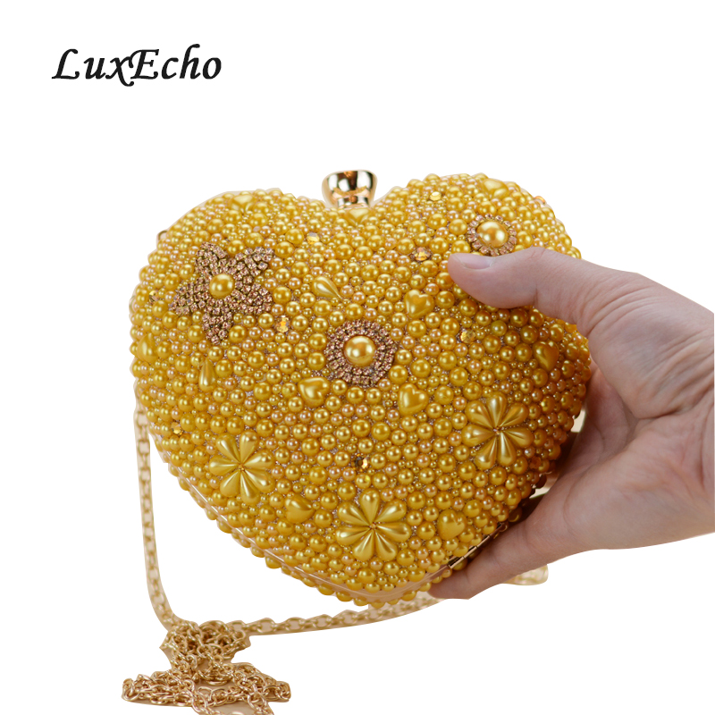 LuxEcho Gold pearl evening bags heart Women day clutch female handbag bridal evening bag small wedding purse bagLuxEcho Gold pearl evening bags heart Women day clutch female handbag bridal evening bag small wedding purse bag