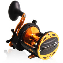 Sougayilang Metal Round Jigging Reel 6:1 Ratio Saltwater Trolling Drum Reels Right Hand Fishing Sea Coil Baitcasting Reel