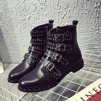 2018 new fashion generous wild black studded boots buckle low heel ladies boots
