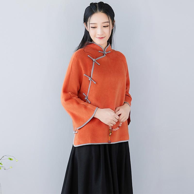 Collare Nuovo Del Stile Piatto Autunno Arancione Inverno Cappotto Delle Button Basamento Donne Nazionale Lana Letterario Di Corto vzx5FUq