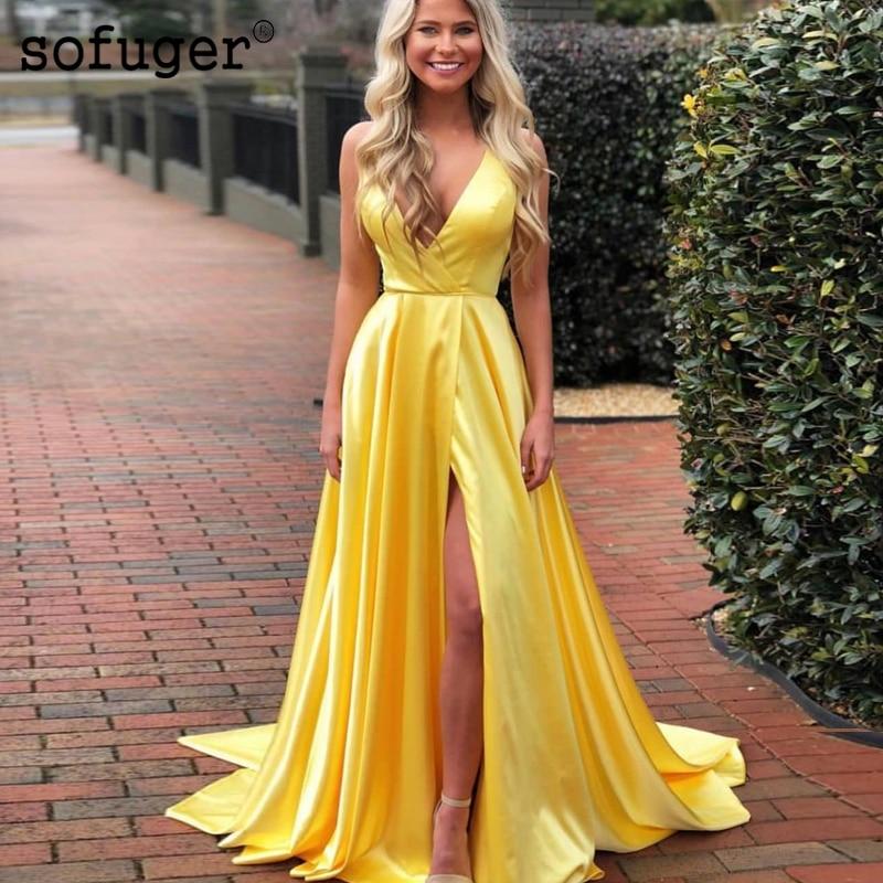 Jaune une ligne robe de bal Sexy profonde col en V haute fente longues robes de soirée pour les femmes grande taille pas cher spécial événement robes de soirée - 4