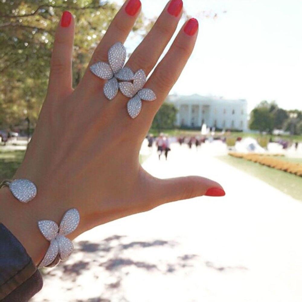 GODKI Fashion Luxury Super Shiny Flower Leaf AAA Cubic Zirconia Women Baguette Bracelet Bangle And Ring Set